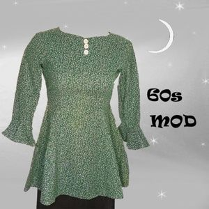 Vintage Petite Green Liberty Cotton Tunic Top